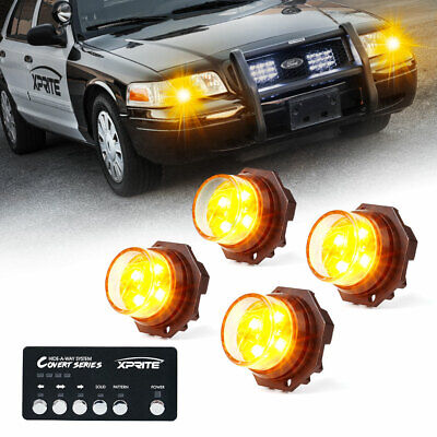 $76.49 • Buy Xprite 4pcs Yellow/Amber LED Strobe Lights Kit Hide-A-Way Car Emergency Warning