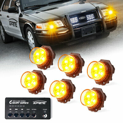 $93.49 • Buy Xprite 6pcs Yellow/Amber LED Strobe Lights Kit Hide-A-Way Car Emergency Warning