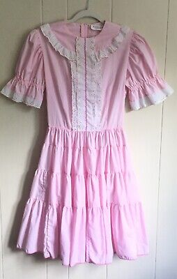 $32 • Buy Square Dance Dress Kate Schorer Floral Lace Trim Women's Sz 12 Vintage