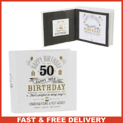 Signography 50th Birthday Photo Album 4x6 Black And Gold Design FL29950 • 17.99£