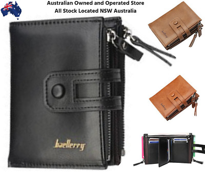 AU23.97 • Buy Men Women Black Leather Wallet Clutch Purse Card Cash Zip Coin Photo ID Holder