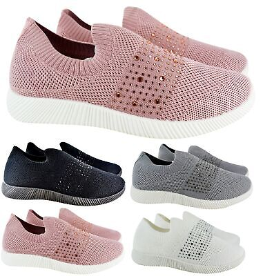 $ CDN24.34 • Buy Ladies Womens Flat Diamante Fitness Gym Sport Sock Sneakers Trainers Shoes Size