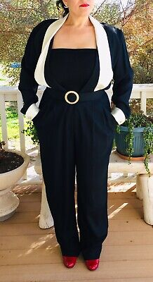 $89.99 • Buy Vintage JR Nites By Caliendo Black Ivory Satin Trim Tuxedo Jumpsuit Size 14