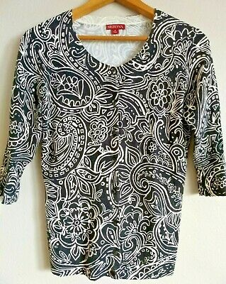$11.39 • Buy Merona Womens Sz Small Paisley Floral Cardigan Button Sweater Black White Career