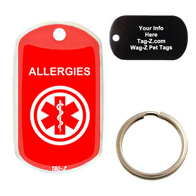 $10 • Buy MEDICAL ALERT ALLERGIES - CUSTOMIZED - PET TAG - MILITARY Shape - Tag-Z Dog Tags