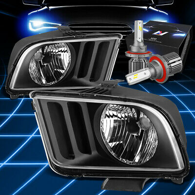 $107.87 • Buy Fit 2005-2009 Ford Mustang Euro Crystal Headlight W/LED Kit+Cool Fan ASSembly
