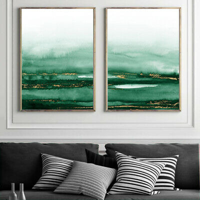 Abstract Wall Art Set Watercolour Painting Print Poster Decor Green Gold A4 - A1 • 21.99£