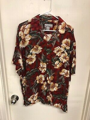 $13 • Buy New Sun Casuals Hawaiian Shirt Large Red Floral Pattern J-353