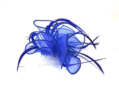 £4.99 • Buy Royal Blue Feather Comb Fascinator Ladies Day Races Ascot Weddings