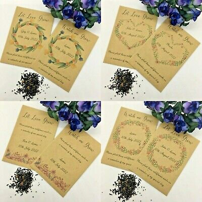 10 X Personalised Wild Flower Seed Wedding Favours Communion Christening  • 1.95£