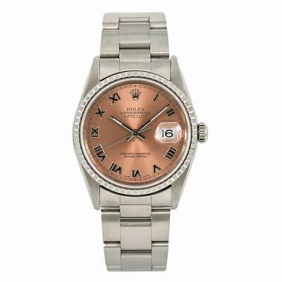 $ CDN5702.73 • Buy Rolex Datejust 16220 Mens Automatic Watch Stainless Steel Salmon Dial 36mm