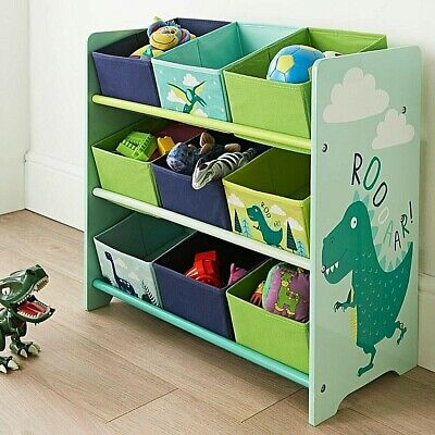 Kids Dinosaur 9 Tub Storage Drawers Perfect Organiser Kid Clothes Crafts & Toys • 37.99£