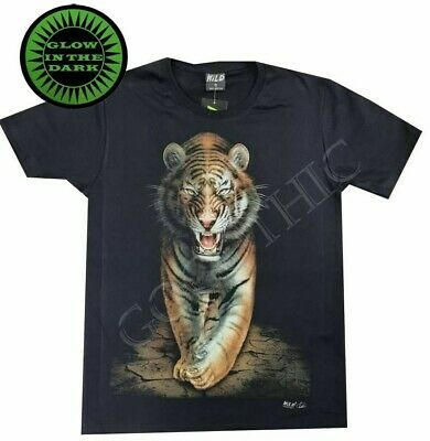 £12.95 • Buy Wild Glow In The Dark T Shirt Cotton Tiger Face Big Cat Animal