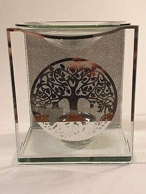 Tree Of Life Glass Oil Burner, Wax Melts, Aroma, Fragrance, Tea Light, Silver  • 12.95£