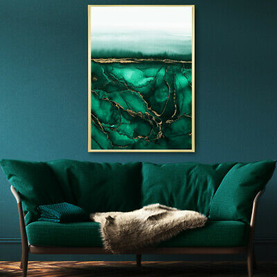 Green & Gold Abstract Wall Art Watercolour Painting Print Poster A4 A3 A2 A1 • 9.99£