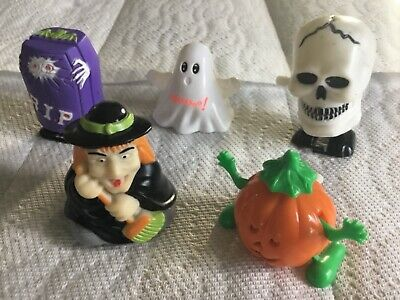 $ CDN1.30 • Buy HALLOWEEN WIND-UP WALKING TOYS Skeleton Grave Pumpkin Ghost Witch Vintage Lot 5