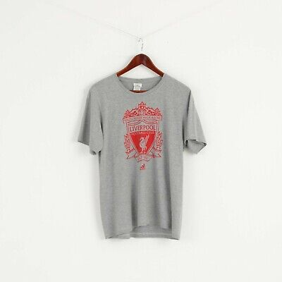 Adidas Men M T- Shirt Grey Graphic Liverpool Football Cotton Short Sleeve Top • 15.40£