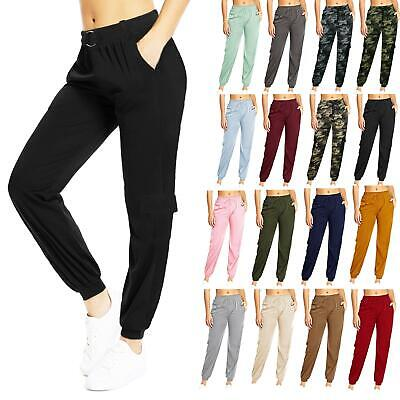 £8.89 • Buy New Womens Ladies Elasticated High Waist Cargo Trousers Gym Jogging Combat Pants