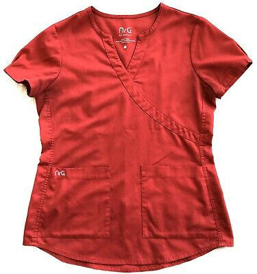 $7 • Buy Women's NrG By Barco Brand Solid Red, V-Neck, 2 Pocket Scrub Top - Sz S