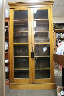 AU956 • Buy A Tall Antique English Country Cottage Glazed Bookcase Display Cabinet Pantry