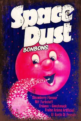 Strawberry Space Dust Aged Look Advert Vintage Style Metal Sign, Bonbons, Sweet • 3.99£