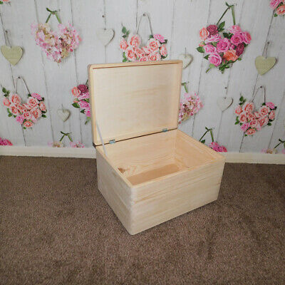 Large Wooden Boxes Plain Wood Storage Box Chest Lid Handles Keepsake Trunk Case • 10.95£