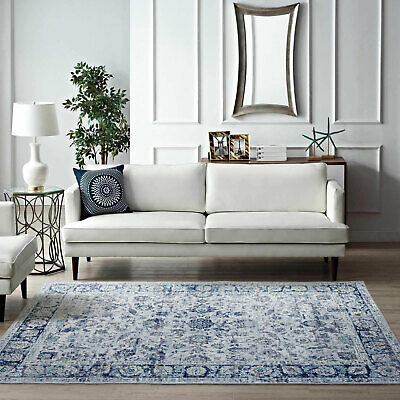 AU109.99 • Buy Large Rugs Blue Ivory Soft Allover Traditional Distressed Carpet Mat 5 Sizes