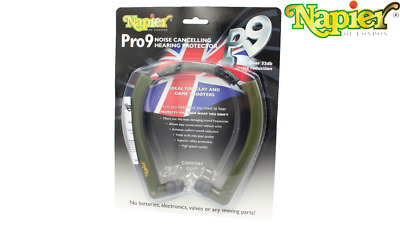 Napier Pro 9 Ear Defenders - Green Noise Cancelling Shooting Lightweight Hunting • 27.85£