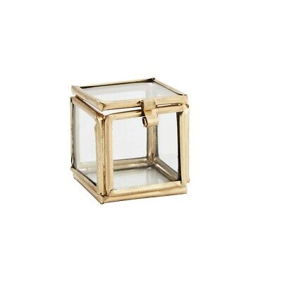 £8.55 • Buy Decorative Small Gold Glass Display Box Square For Rings Design By Madam Stoltz