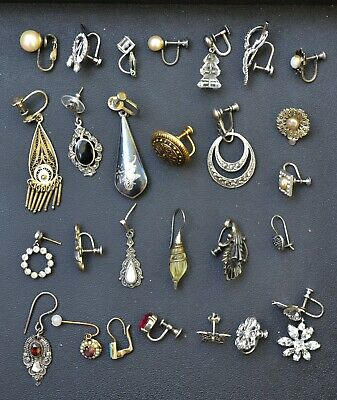 $ CDN47.55 • Buy Lot Vintage-antique 27 SINGLE Sterling Silver Earrings Very Old Wear/craft Beaut