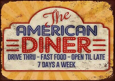 £7 • Buy American Diner Sign Metal Wall Sign