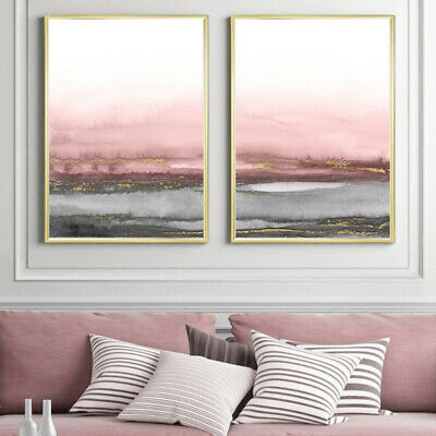 Grey Pink Gold Abstract Wall Art Set Watercolour Painting Print Poster A4 To A1 • 13.99£