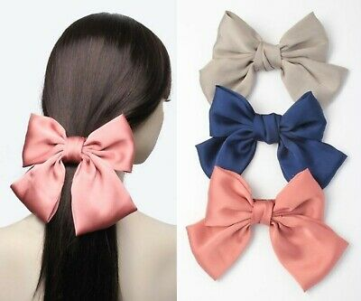£3.99 • Buy Large Hair Bow Barrette Clips Satin Bows Hair Accessories Grips
