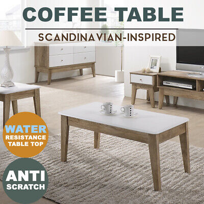 AU89 • Buy MEYA White Coffee Table Scandinavian Oak Modern Furniture