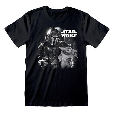 Official Star Wars The Mandalorian Baby Yoda Mono Print Black T-shirt • 12.99£