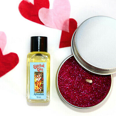 ROMANTIC APHRODISIA SCENT CANDLE MAKING KIT ECO GLITTER Soy Wax Tin Candles  KVB • 6.99£