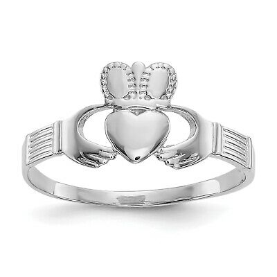 $93.87 • Buy 14k White Gold Fancy Ladies Claddagh Ring