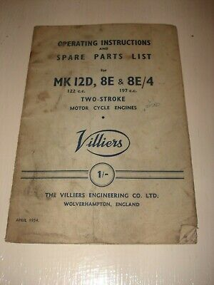 Villiers MK12D 8E 8E/4 Motor Cycle Engine Operating Instructions And Parts List. • 10£
