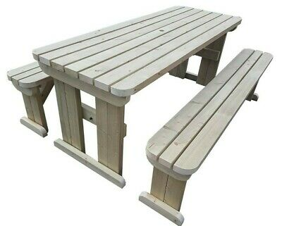 Picnic Table And Bench Set Wooden Outdoor Garden Furniture, Aspen Rounded • 184£