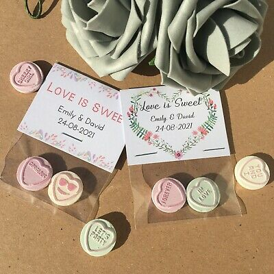 10x Personalised Love Heart Sweet Favours Thank You Gift Wedding Christening DIY • 2.95£