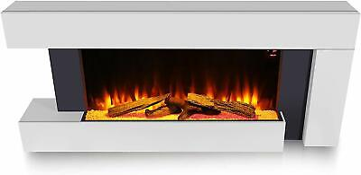Large Wall Mounted Electric Fire White Home Decor Wooden Logs Flicker Flame  • 351.89£