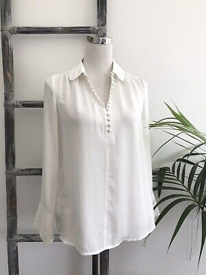 AU28 • Buy Witchery White Covered Button Gathered Blouse - Size 6