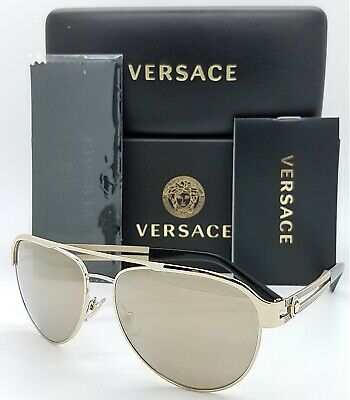 AU278.61 • Buy NEW Versace Sunglasses VE2165 12525A Pale Gold Brown Mirror AUTHENTIC Aviator