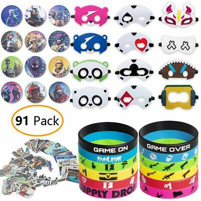 $ CDN31.68 • Buy 91 Pack Fortnite Video Game Party Supplies, Masks, Bracelets, Button Birthday