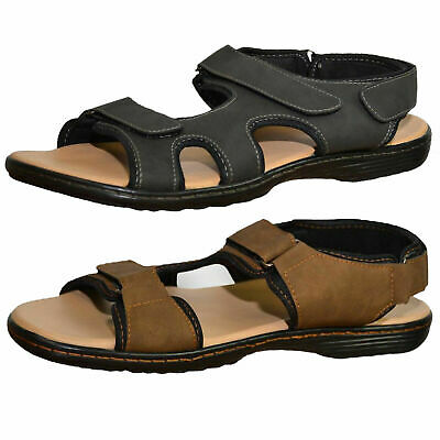 Duke D555 Reagan Mens Big King Sizes Faux Leather Strappy Sandals Open Toe Shoes • 10£