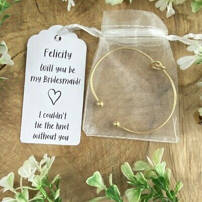 Will You Be My Bridesmaid?, Knot Bangle, Bridesmaid Proposal,Bridesmaid Bracelet • 3.95£