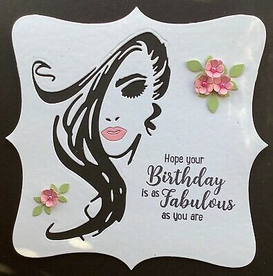 A Large Handmade Birthday Card Topper Of A Beautiful Young Lady  3 • 1.99£