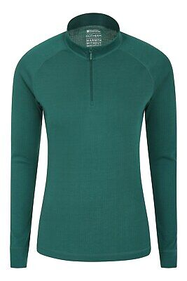 Mountain Warehouse Womens Long Sleeved Zip Neck Top Base Layer Lightweight • 14.99£