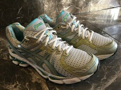 $20.99 • Buy ASICS T150N Gel Kayano 17 Women 8 White Silver Green Turquoise Teal Running Shoe