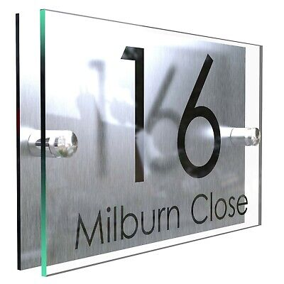 Contemporary HOUSE SIGN / PLAQUE / DOOR / NUMBER / GLASS EFFECT ACRYLIC • 8.99£